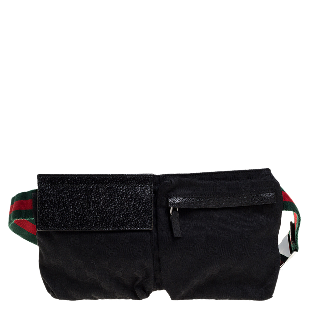 Gucci Black GG Canvas and Leather Web Waist Belt Bag