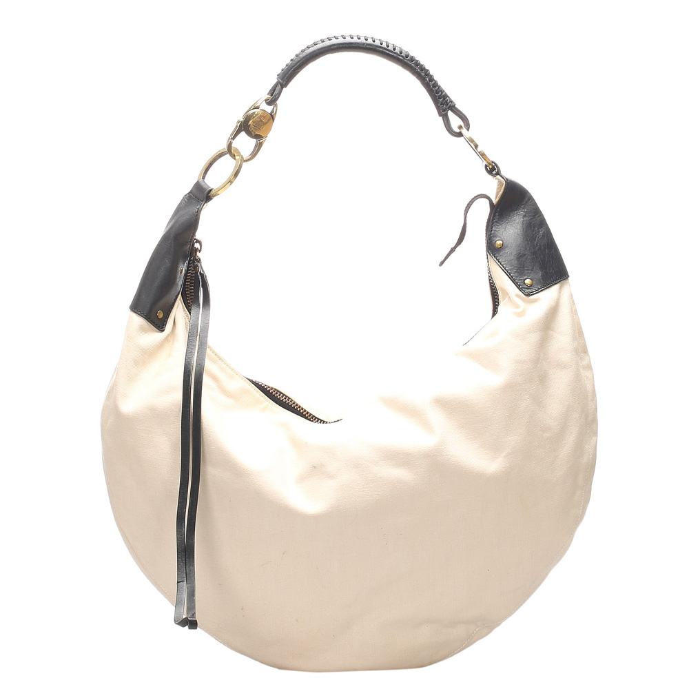 Pre-owned Gucci White/black Canvas Hobo Bag