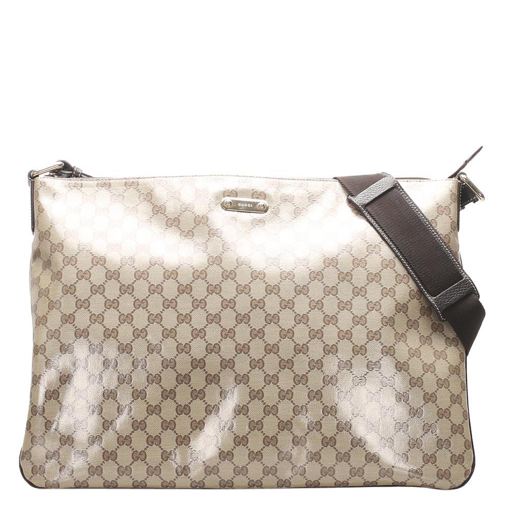Pre-owned Gucci Beige/brown Gg Crystal Canvas Shoulder Bag