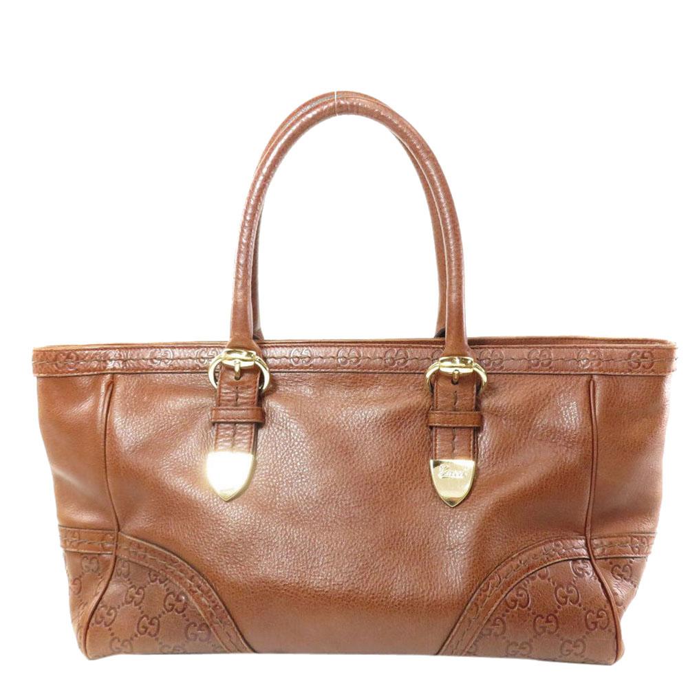 Pre-owned Gucci Ssima Leather Medium Signoria Tote In Brown