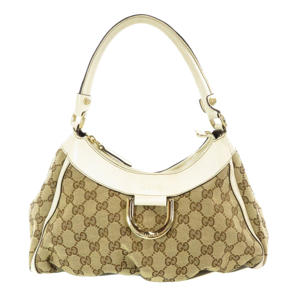 Pre-owned Gucci Beige Gg Canvas D Ring Hobo