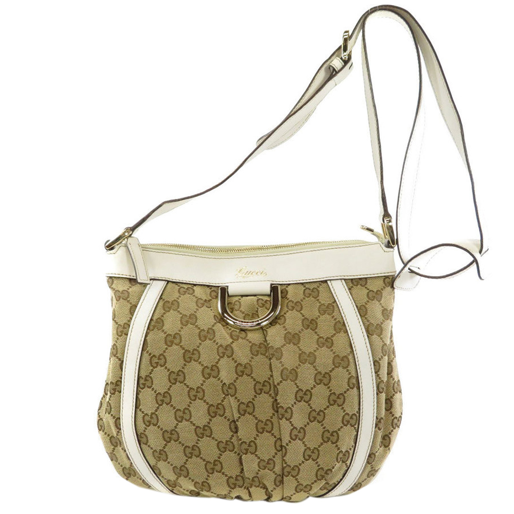 Pre-owned Gucci Brown/white Canvas And Leather D Ring Shoulder Bag