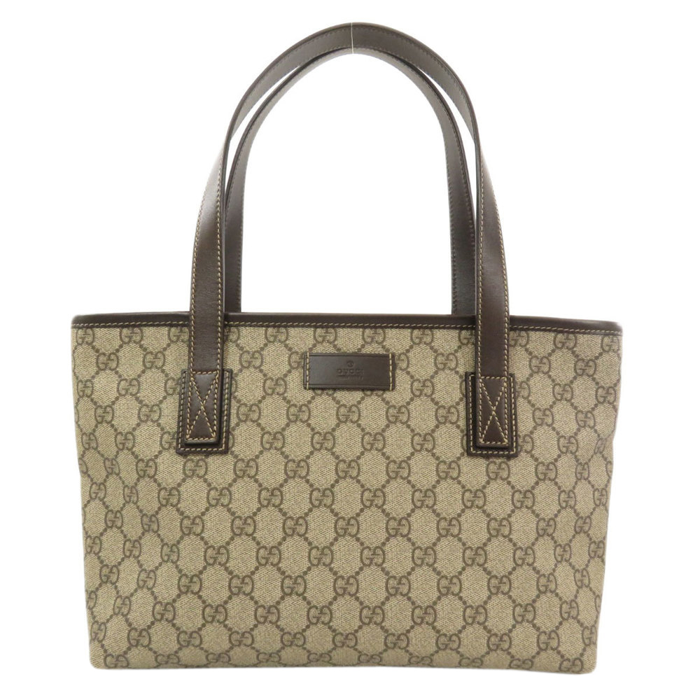 Pre-owned Gucci Brown Gg Supreme Coated Canvas Tote In Beige