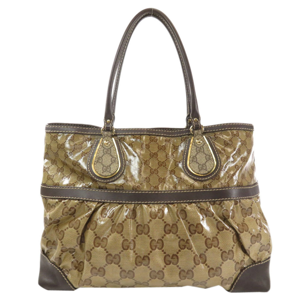 Pre-owned Gucci Brown Gg Crystal Medium Mix Tote