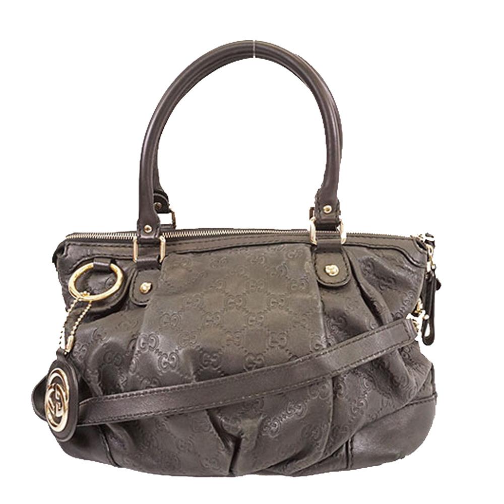 Pre-owned Gucci Ssima Leather Sukey Diamante Tote In Brown