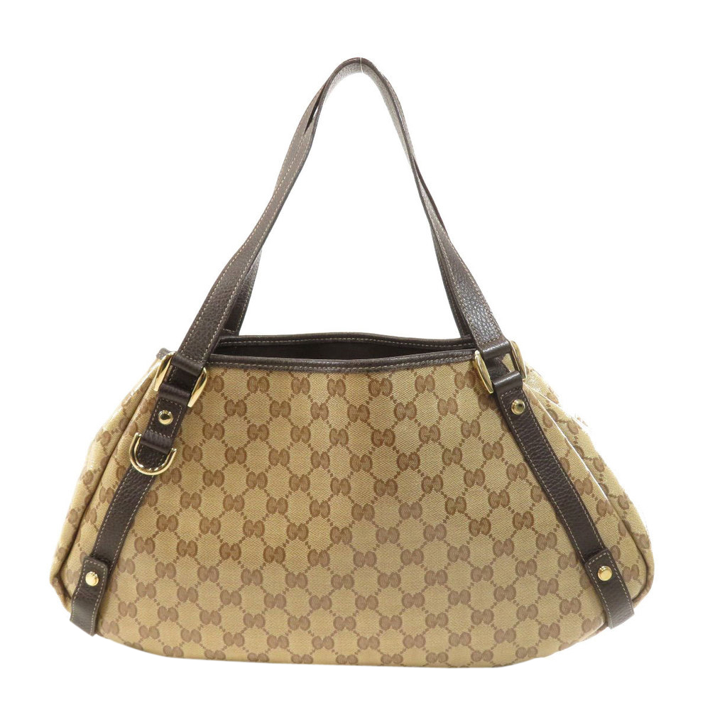 Pre-owned Gucci Beige Gg Coated Canvas Abbey Tote