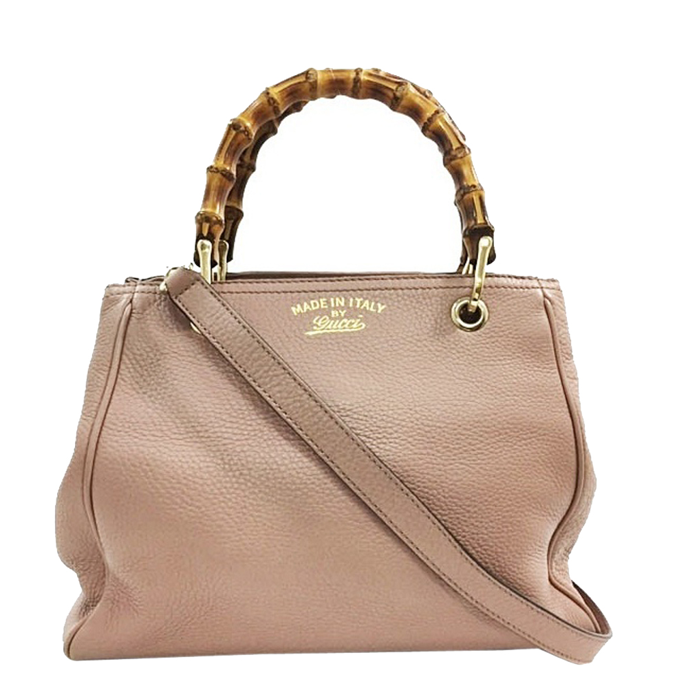Pre-owned Gucci Pink Beige Leather Small Bamboo Tote