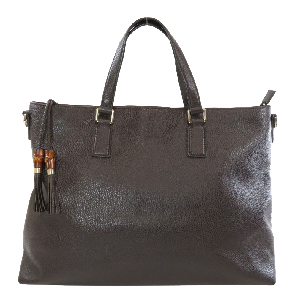 Pre-owned Gucci Brown Leather Dollar Charm Tote