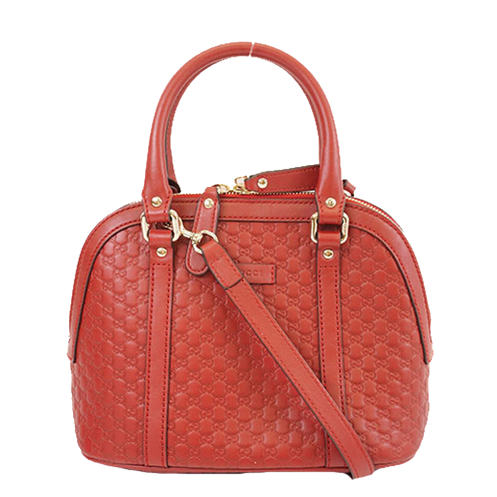 Pre-owned Gucci Ssima Leather Micro Dome Satchel In Red