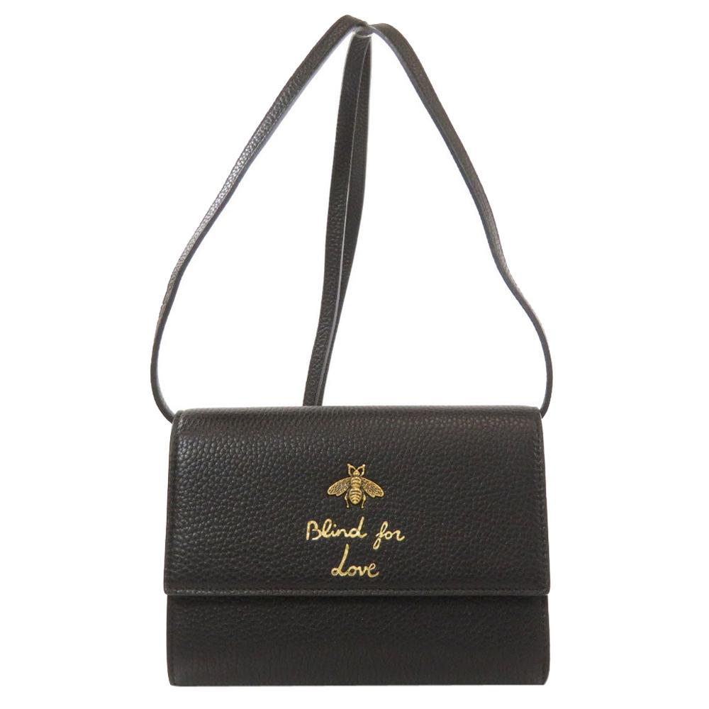 Pre-owned Gucci Black Leather Bee Blind For Love Shoulder Bag
