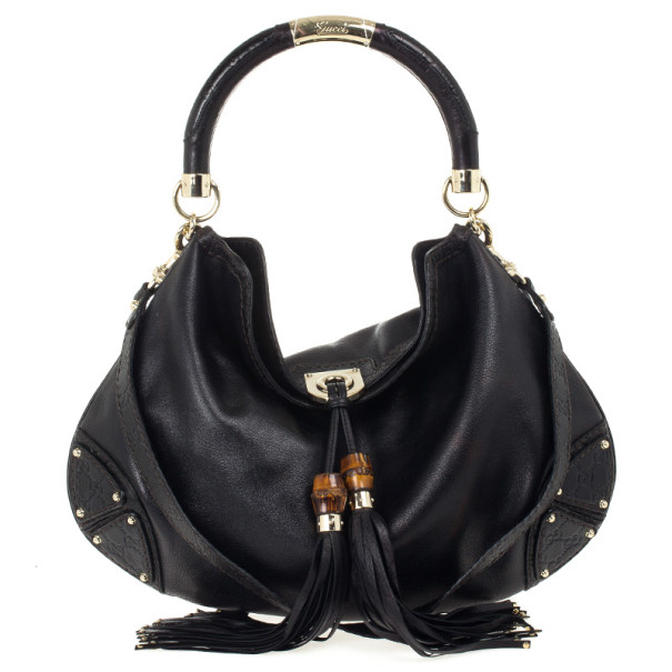 Gucci Black Leather Large Indy Top Handle Bag