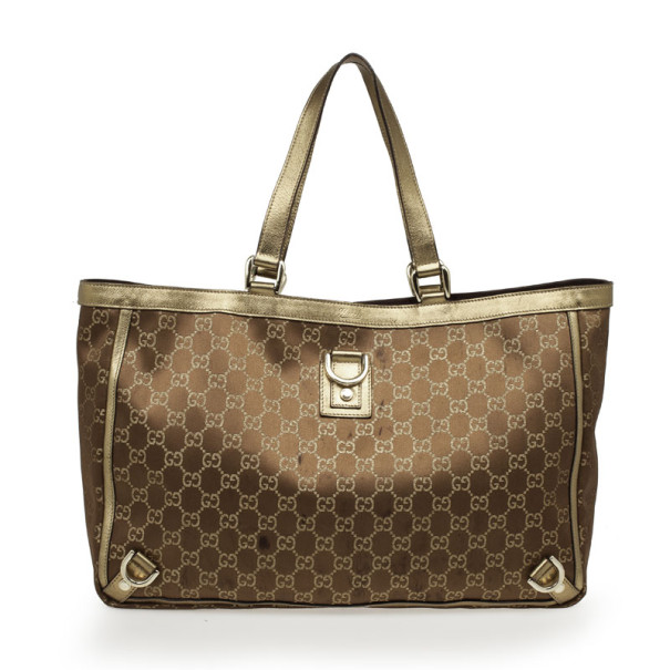 490b5069b14b Buy Gucci Bronze Metallic Monogram Abbey Tote 32402 at best price | TLC