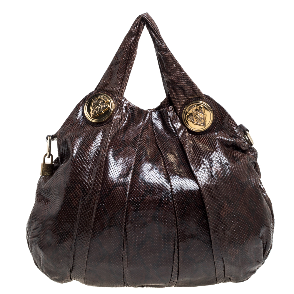 Pre-owned Gucci Brown Python Large Hysteria Hobo