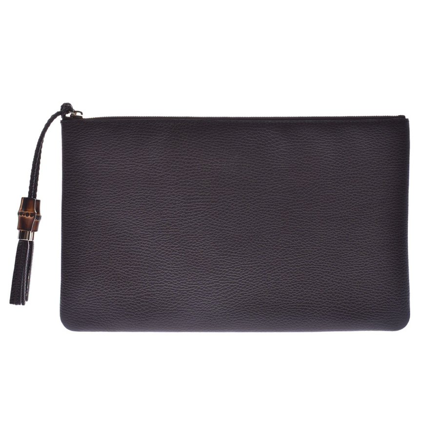 Pre-owned Gucci Dark Brown Leather Clutch