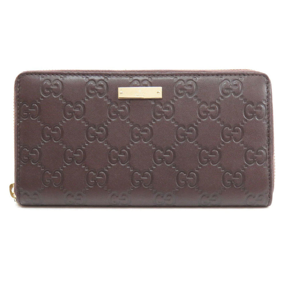 Pre-owned Gucci Ssima Leather Zip Around Wallet In Brown