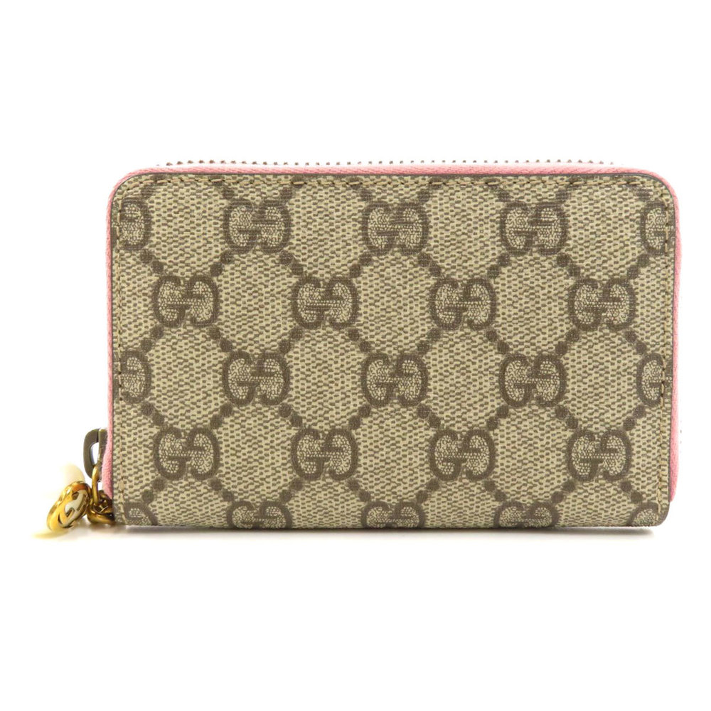 Pre-owned Gucci Beige/pink Gg Canvas Compact Wallet