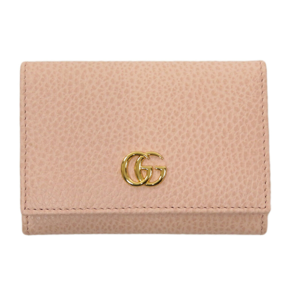Pre-owned Gucci Pink Leather Gg Marmont Wallet