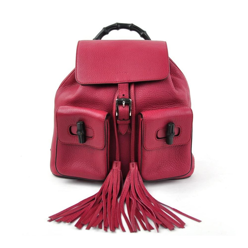 Pre-owned Gucci Pink Leather Tassel Bamboo Daily Backpack