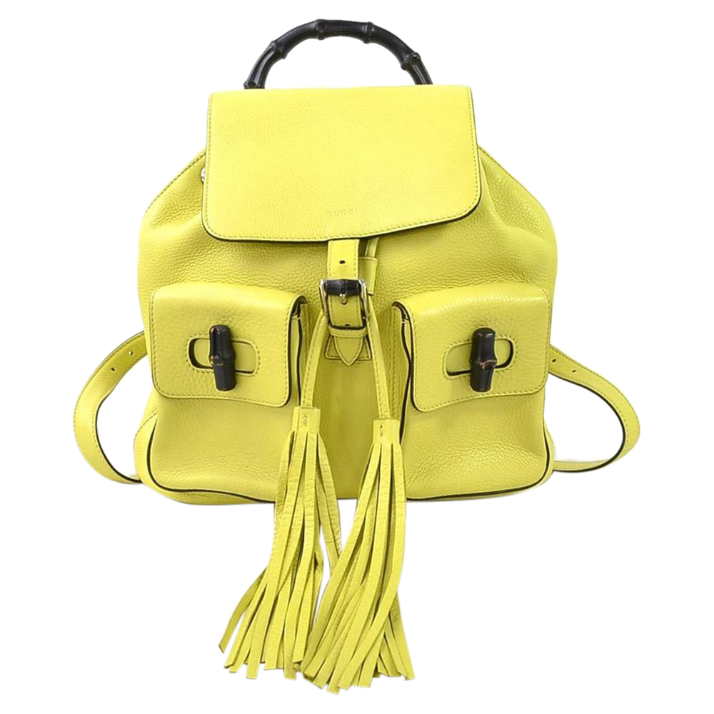 Pre-owned Gucci Yellow Leather Tassel Bamboo Daily Backpack