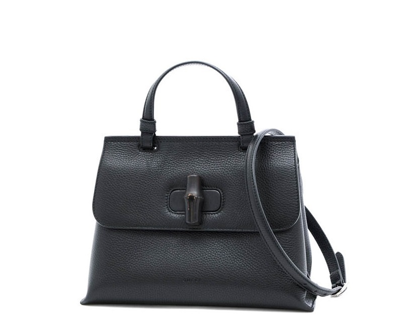Pre-owned Gucci Black Leather Bamboo Daily Shoulder Bag
