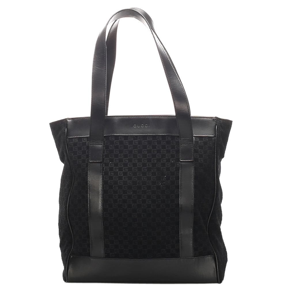 Pre-owned Gucci Black Canvas Tote Bag