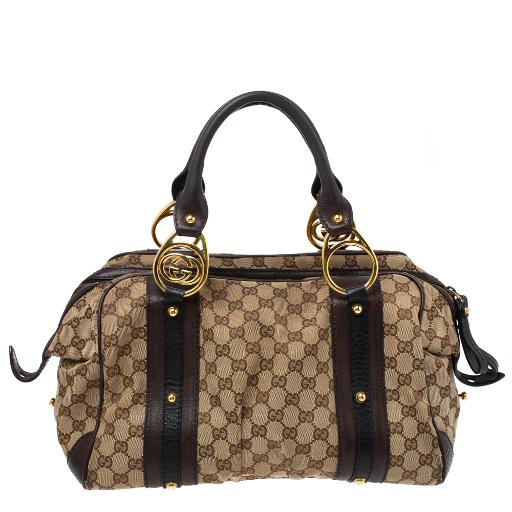 Pre-owned Gucci Beige/brown Gg Canvas And Leather G Interlocking Bowler Bag