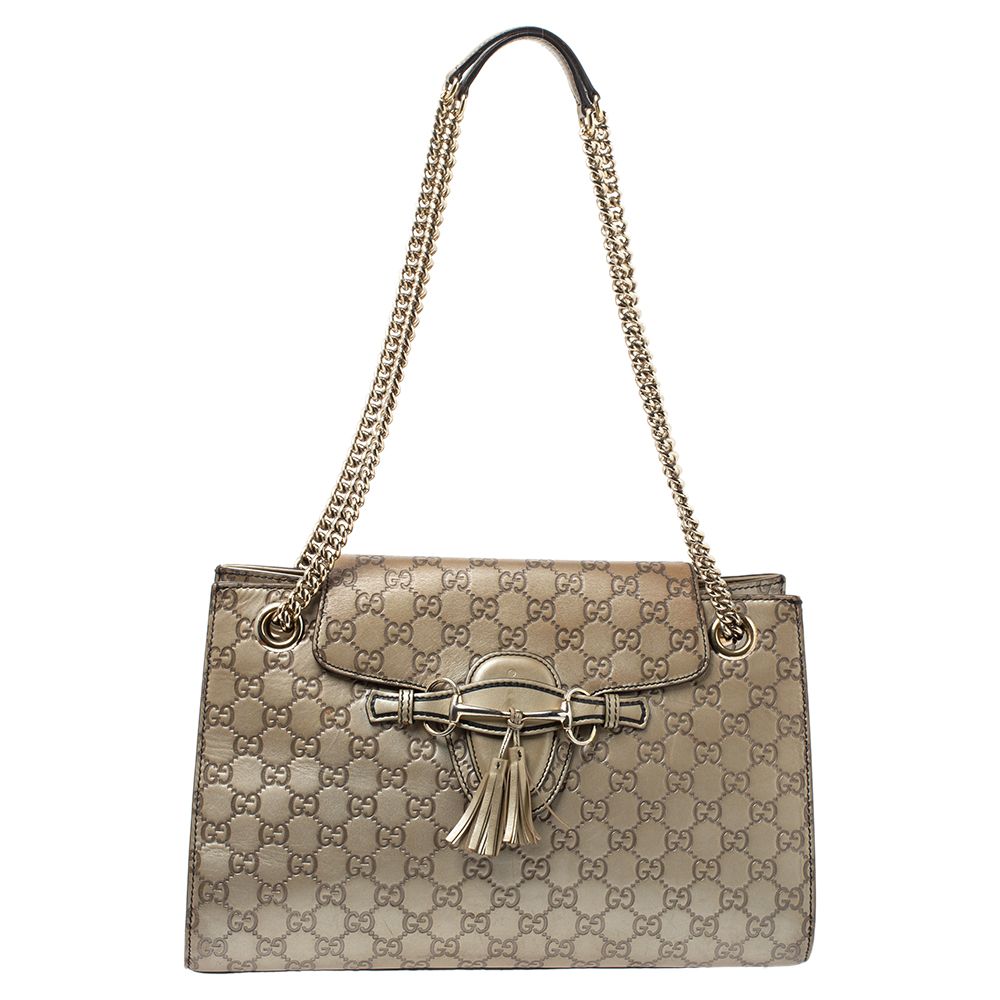 Pre-owned Gucci Ssima Leather Large Emily Chain Shoulder Bag In Metallic