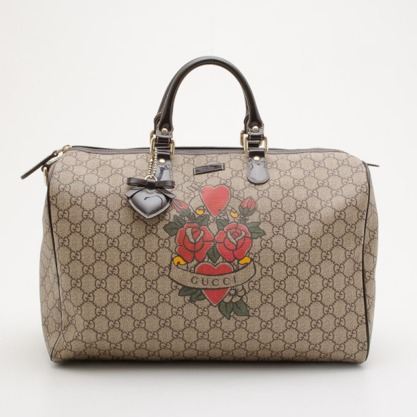 b787e7b72b31 Buy Gucci GG Plus Tattoo Hearts And Roses Large 'Joy' Boston Satchel ...