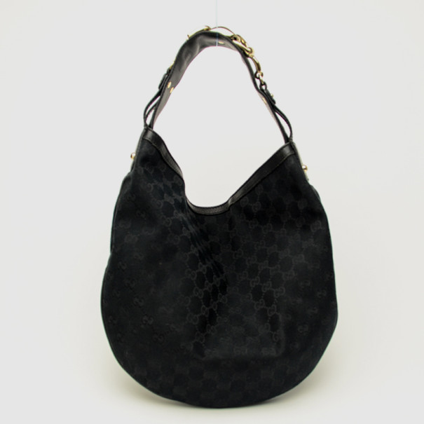 f0fedbe2d88c44 Buy Gucci Black Canvas Wave Horsebit Hobo Bag 33840 at best price | TLC