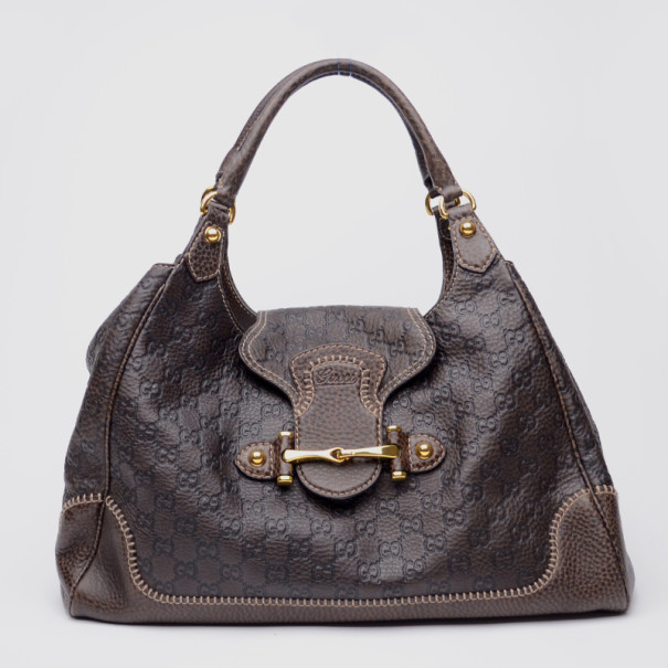 Gucci Brown Leather New Pelham Large Shoulder Bag