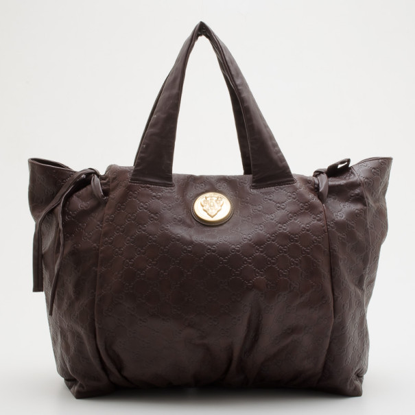 9120ed96db9 Buy Gucci Chocolate Guccissima Leather  Hysteria  Large Tote 34405 at best  price