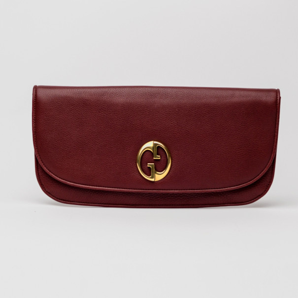 Gucci Red Leather 1973 Clutch