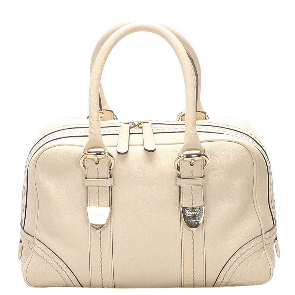 Gucci Cream Leather Boston Bag