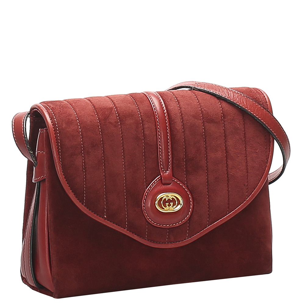Gucci Red Suede Vintage Crossbody Bag
