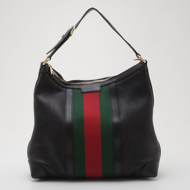 Gucci Black Leather Red Green Stripe Hobo