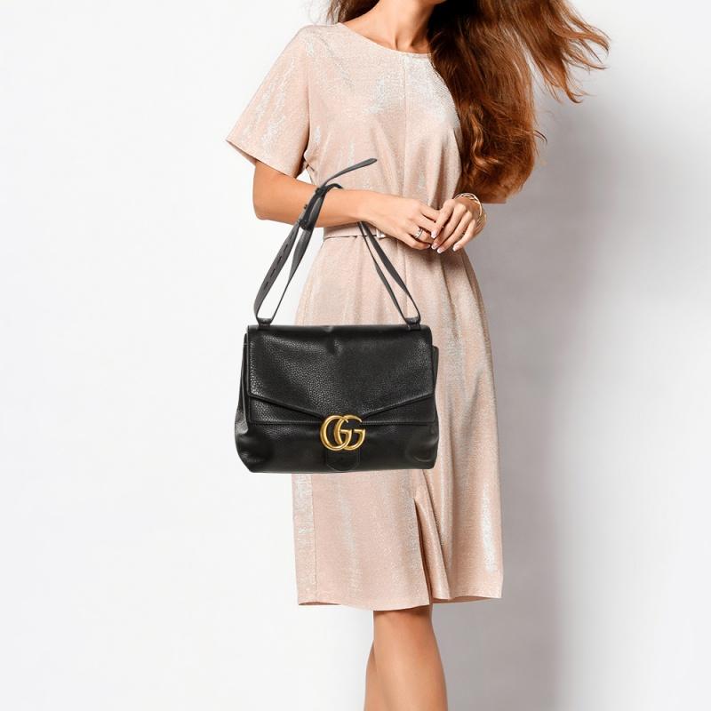 Gucci Black Leather Large GG Marmont Shoulder Bag
