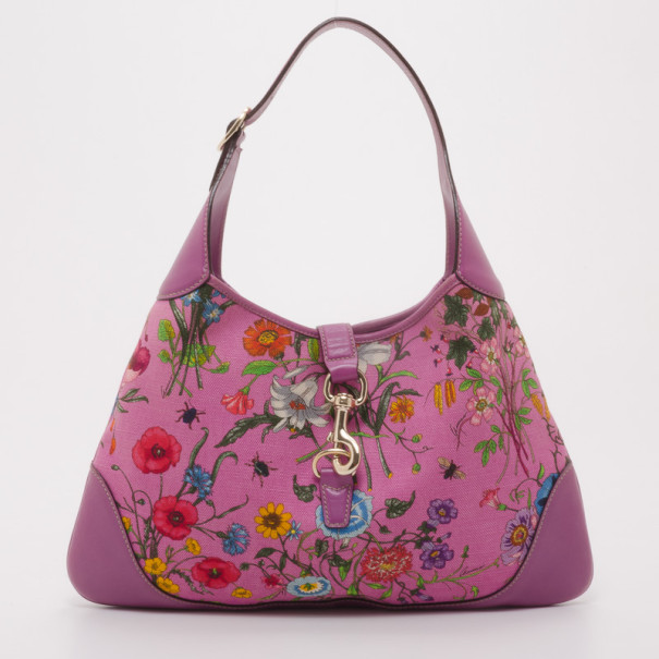 cdd832328d3 Buy Gucci Fuchsia Floral Jackie O Hobo Handbag 37423 at best price