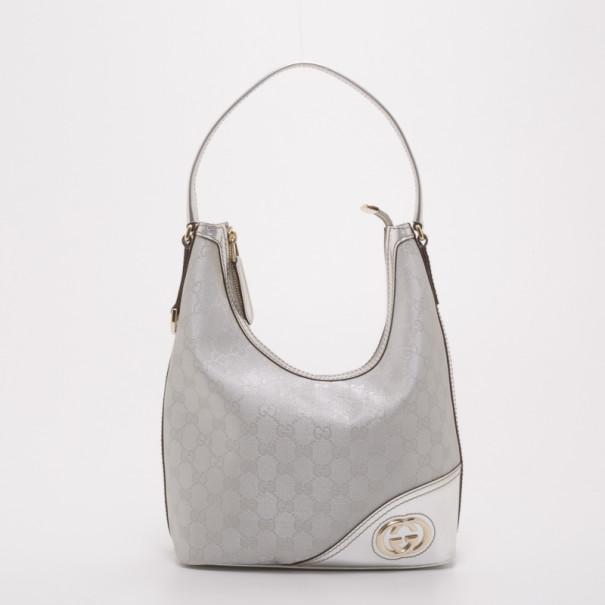 f03c8167e4a Buy Gucci New Britt Silver Monogram Medium Hobo 37425 at best price ...