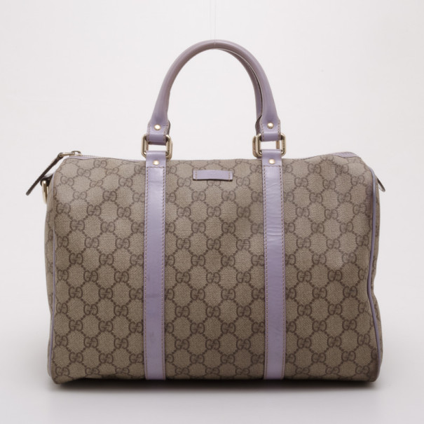 55acc1874b57 Buy Gucci Monogram Lilac Trim Boston Bag 37663 at best price | TLC