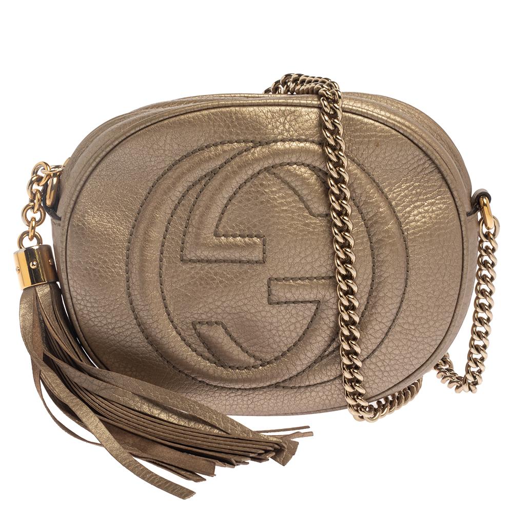 Pre-owned Gucci Metallic Leather Mini Soho Disco Chain Crossbody Bag
