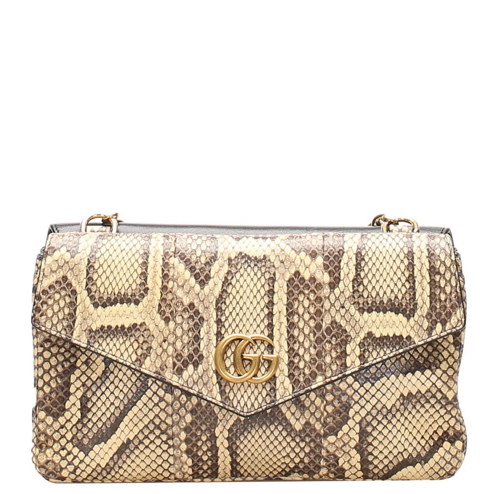 Gucci Black Python Leather Thiara Satchel Bag