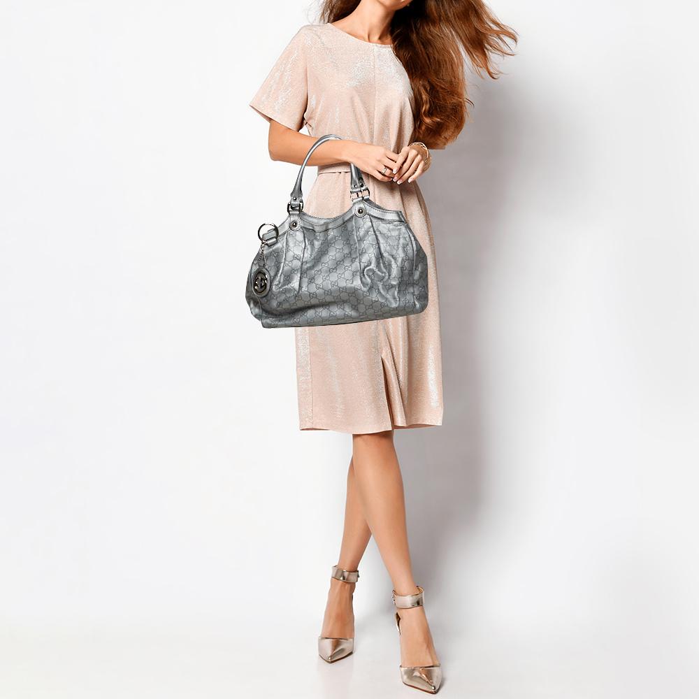 Gucci Silver Guccissima Leather Medium Sukey Tote  - buy with discount