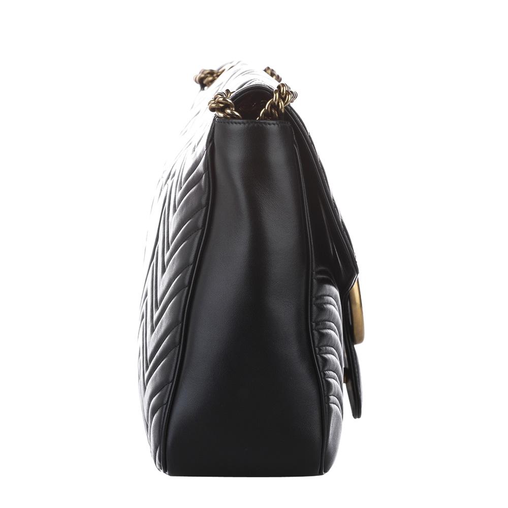 Gucci Black Leather GG Marmont Large Shoulder Bag