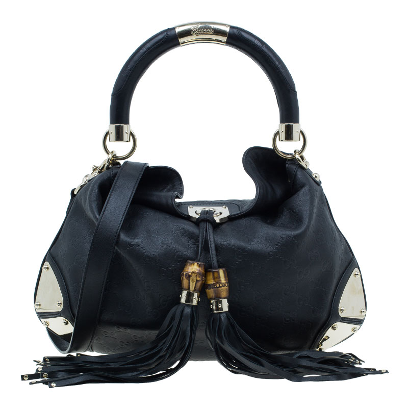 Buy Gucci Black Monogram Leather Large Indy Tassel Hobo 39523 at best price   90263ba2de4b3