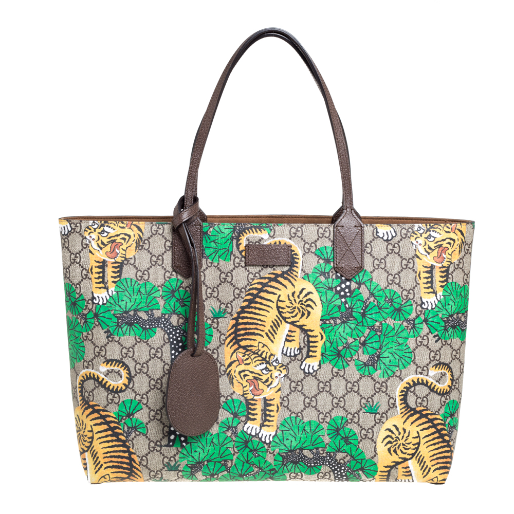 Pre-owned Gucci Multicolor Gg Supreme Coated Canvas And Leather Bengal Tiger Shopper Tote