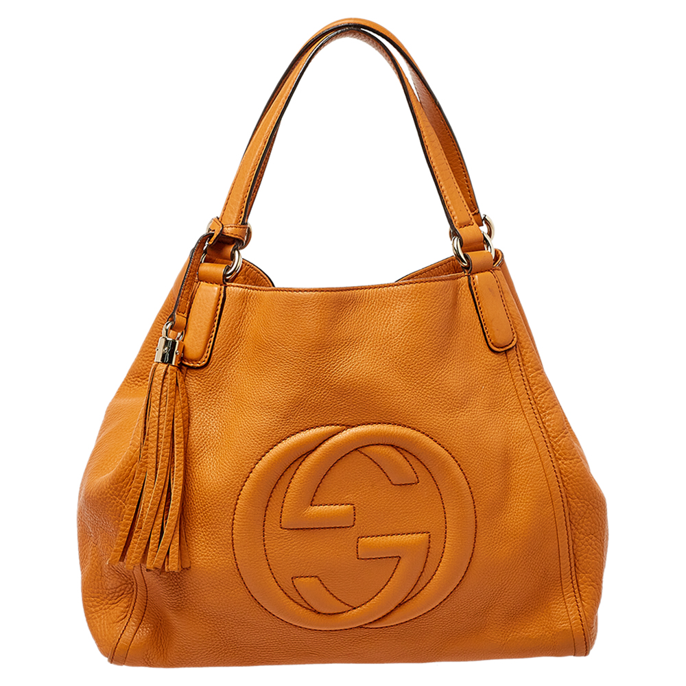 Pre-owned Gucci Orange Pebbled Leather Medium Soho Tote