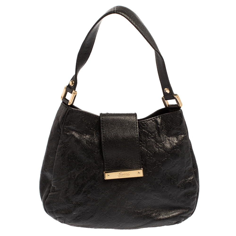 Pre-owned Gucci Ssima Leather Flap Hobo In Black