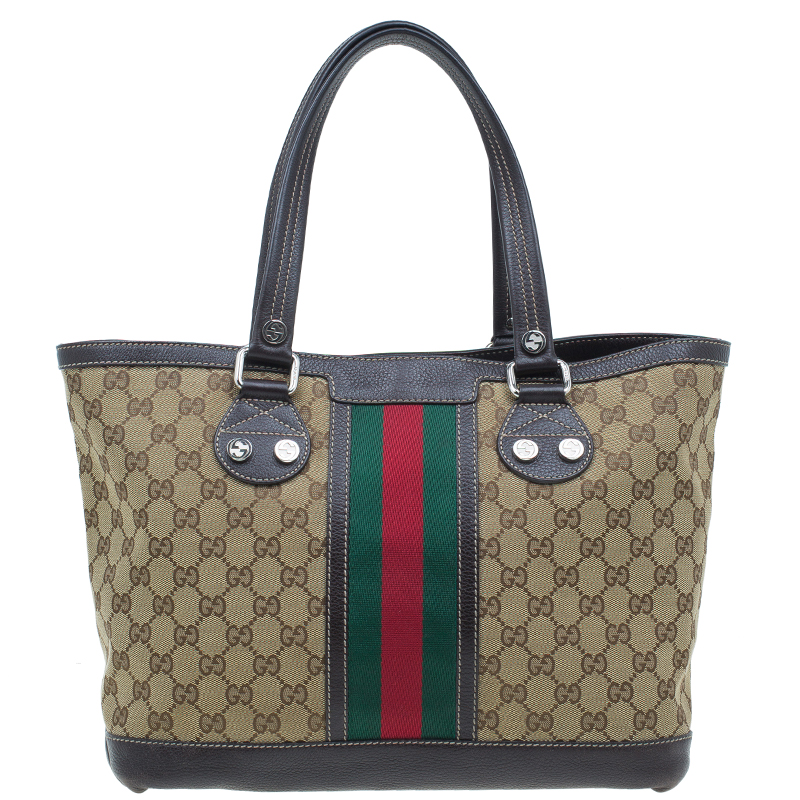 Buy Gucci Brown Monogram Canvas Medium Vintage Web Sunset Tote Bag ... fcead3e16