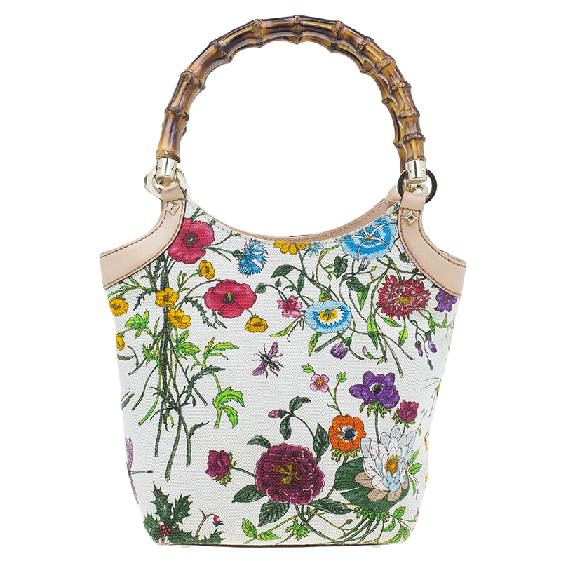 Gucci Beige Canvas Flora Bamboo Handle Tote bag