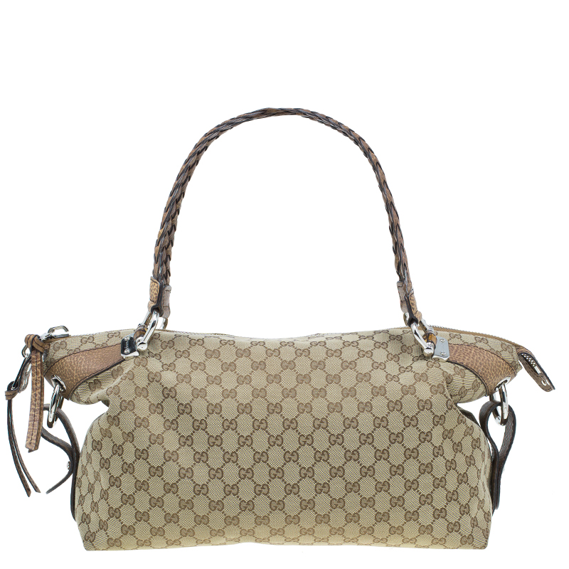 95df55b9a217 ... Gucci Beige GG Canvas Medium Bamboo Bar Tote Bag. nextprev. prevnext